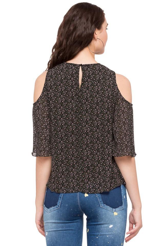 Womens Cold Shoulder Sleeves Printed Top