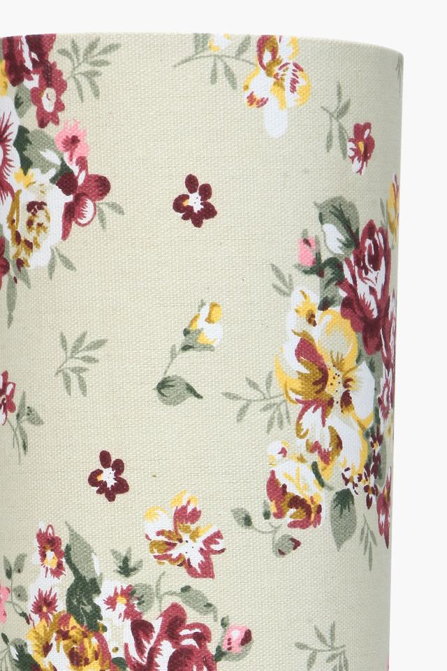 Cylindrical Floral Printed Table Lamp