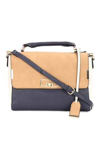 Women Metallic Lock Satchel Handbag