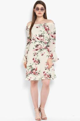 Womens Off Shoulder Floral Printed Skater Dress