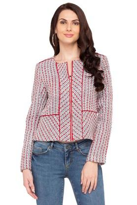 Womens Front Open Woven Jacket