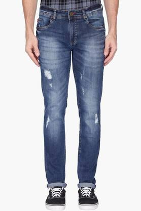 LEE COOPER Mens Skinny Fit Distressed Wash Jeans