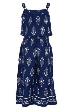 Girls Strappy Neck Printed Jumpsuit