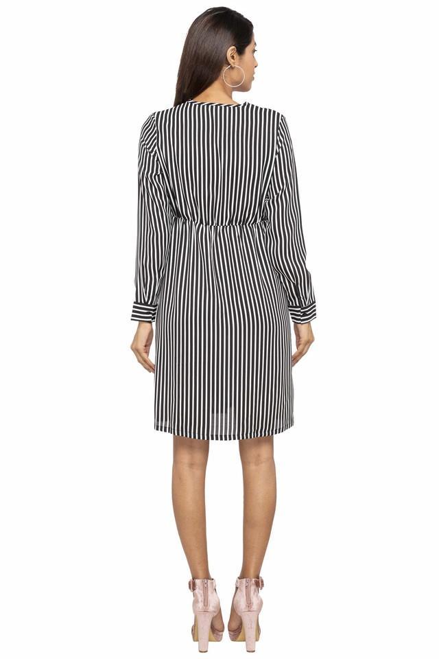 Womens Surplice Neck Striped A-Line Dress