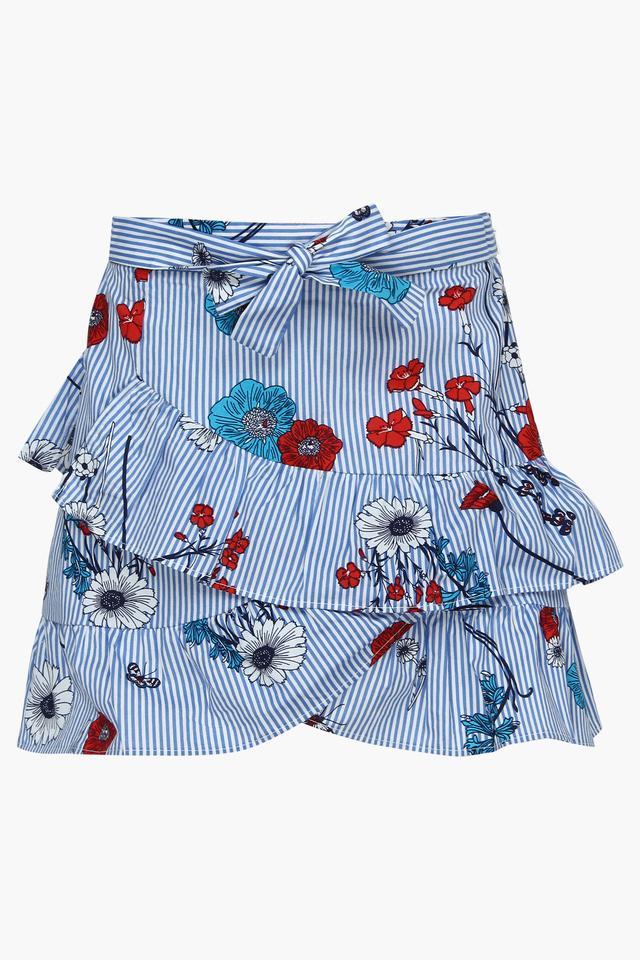 Girls Stripe Ruffled Skirt