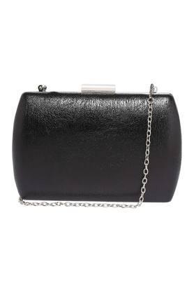 Womens Party Wear Metallic Lock Closure Sling Clutch