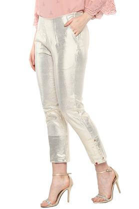 Womens 2 Pocket Metallic Stripe Pants