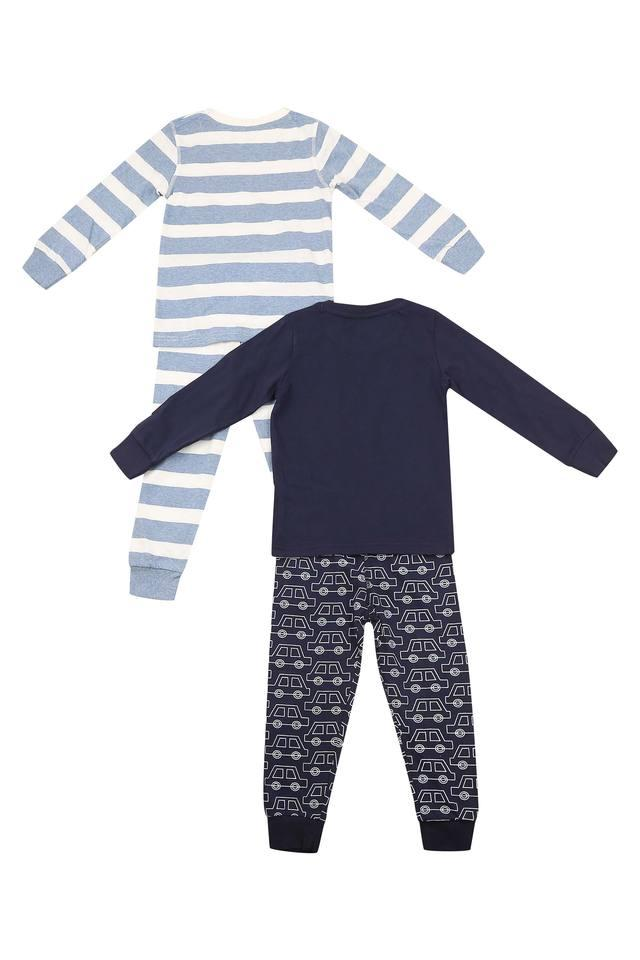Boys Round Neck Striped Pants and Tee - Pack Of 2