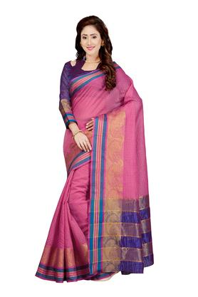 Womens Checked Saree with Blouse Piece