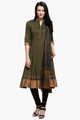 BIBA Womens Mandarin Neck Slub Churidar Suit