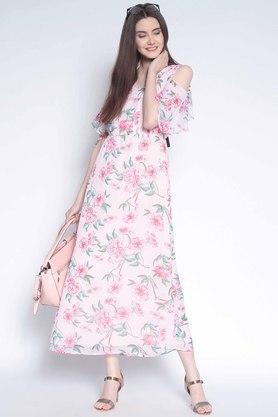 Womens Floral Print Flared Dress