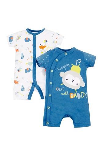 Boys Round Neck Patch Work and Printed Rompers - Pack Of 2