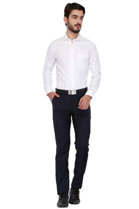 Mens Slim Collar Permapress Self Pattern Shirt