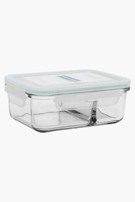 Rectangular Transparent Duo Container with Lid - 670ml