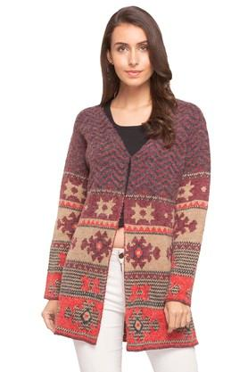 ONER Womens V Neck Printed Cardigan - 204675051_9612