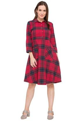 X AND Womens Collared Check Shirt Dress