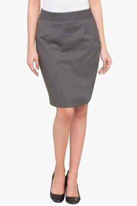 ALLEN SOLLY Womens Slub Knee Length Skirt