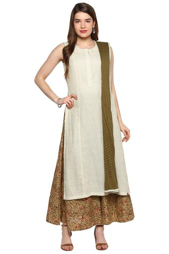 BIBA -  Off White Salwar & Churidar Suits - Main