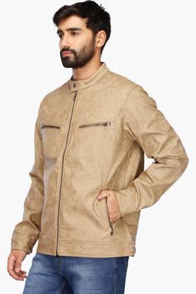 Mens Band Collar Slub Jacket