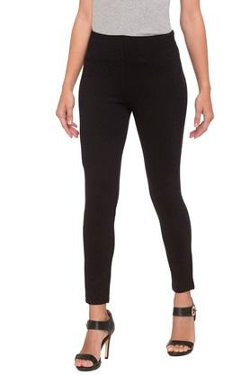 Womens Solid Casual Trousers
