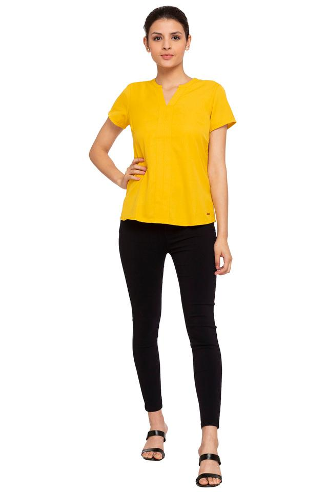 Womens Notched Collar Solid Top