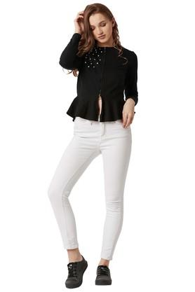 Womens Zip Through Neck Embellished Peplum Jacket