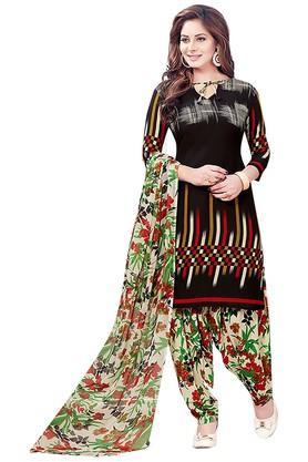 ISHINWomens Tie Up Neck Printed Dress Material - 203926692_9212