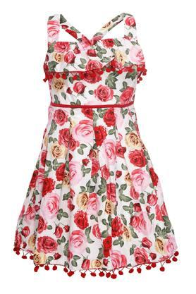 Girls Strappy Neck Printed Flared Dress