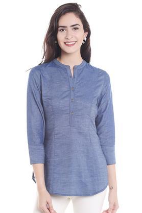 FUSION BEATSWomens Band Collar Solid Shirt