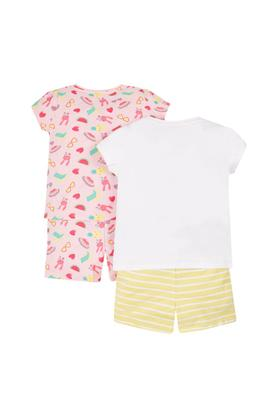 Girls Round Neck Printed Shorts and Top - Pack Of 2