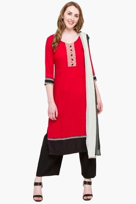 STOP Womens Round Neck Colour Block Palazzo Suit