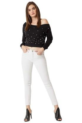 Womens One Shoulder Neck Embellished Sweatshirt