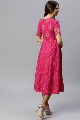 Womens V Neck Tie Up Gold Printed Kurta