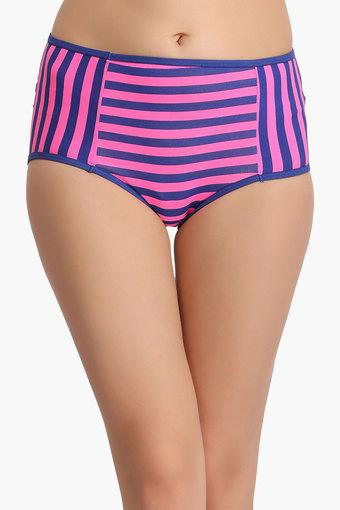 Womens Mid Waist Striped Hipster Briefs