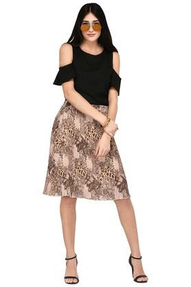 Womens Printed Knee Length Skirt