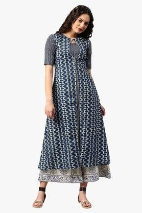 LIBAS Womens Key Hole Neck Printed A-Line Kurta