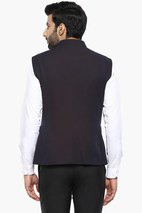 Mens Slim Fit Mao Collar Printed Waistcoat