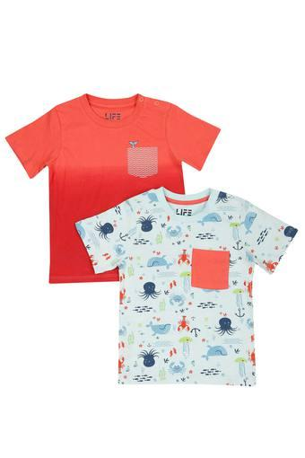 Boys Round Neck Printed and Solid Tee - Pack Of 2
