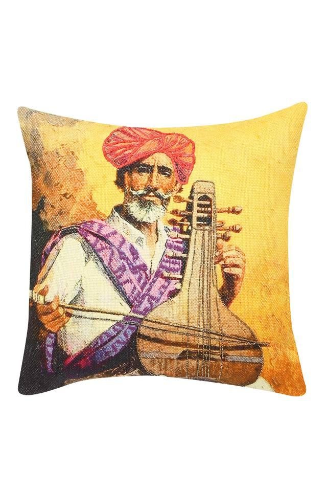Square Music Man Embroidered Cushion Cover