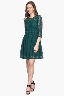 ecf2aaee71 Buy LIFE Womens Round Neck Lace Skater Dress
