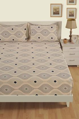 SWAYAMPrinted Double Fitted Bed Sheet With 2 Pillow Covers - 204274715_9308