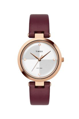 Womens Two Tone Dial Leather Analogue Watch - TWEL11818