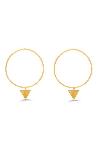 Womens Gold Plated Metallic Geometric Drop Earrings