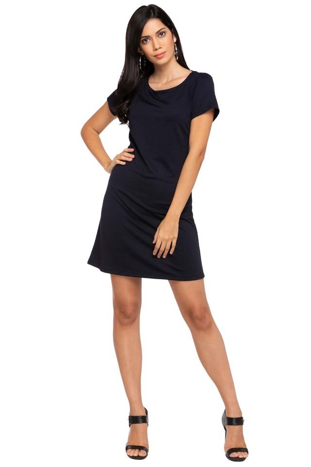 Womens Round Neck Solid Knee Length Dress