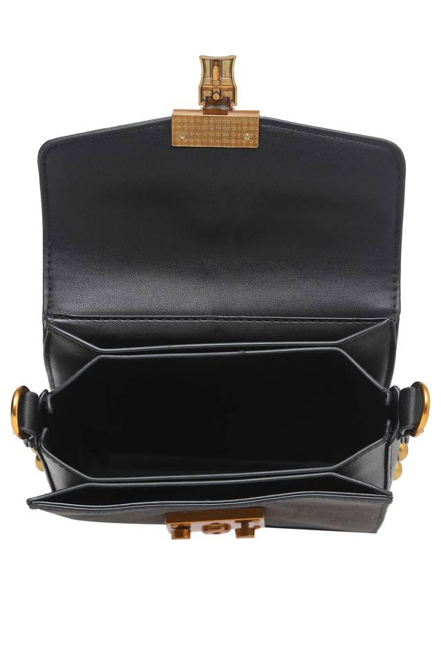 Womens Casual Wear Metallic Lock Sling Clutch