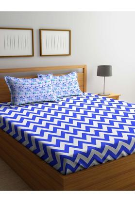 PORTICOStripe Double Bed Sheet With Pillow Cover - 203989869_9900