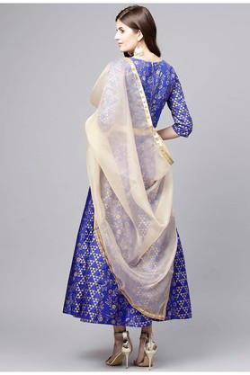 Womens Round Neck Printed Lehenga Choli and Dupatta Set