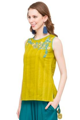 Womens Round Neck Stripe Embroidered Top