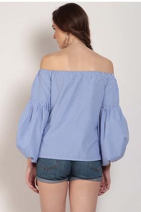 Womens Off Shoulder Stripe Top