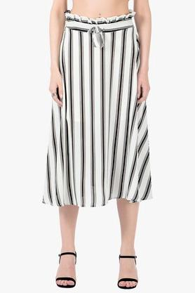 FABALLEY Womens Stripe Skirt